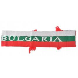 Двулицев шал с цветовете на българския трикольор с червени ресни