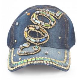 Спортна лятна шапка с козирка, декорирана с надпис COOL и цветни камъни