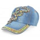 Спортна лятна шапка от плат с козирка, декорирана с надпис BOSS и цветни камъни