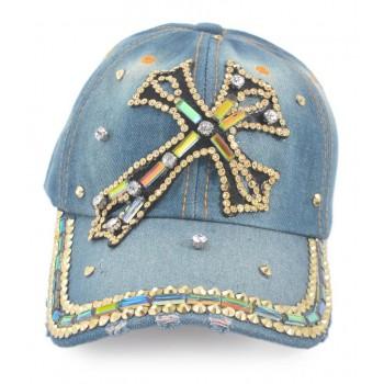 Спортна лятна шапка от дънков плат с козирка, декорирана с кръст и цветни камъни