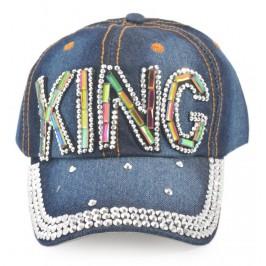 Спортна лятна шапка от дънков плат с козирка, декорирана с надпис KING и цветни камъни