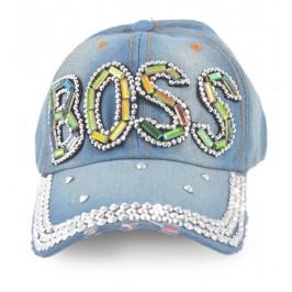 Спортна лятна шапка от дънков плат с козирка, декорирана с надпис BOSS и цветни и бели камъни