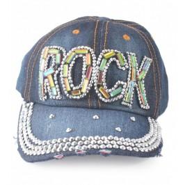 Спортна лятна шапка от дънков плат с козирка, декорирана с надпис ROCK и цветни и бели камъни