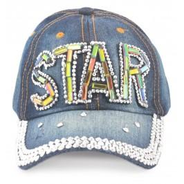 Спортна лятна шапка от дънков плат с козирка, декорирана с надпис STAR и цветни и бели камъни