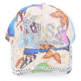 Спортна лятна шапка с козирка, декорирана с надпис Kiss и бели камъни