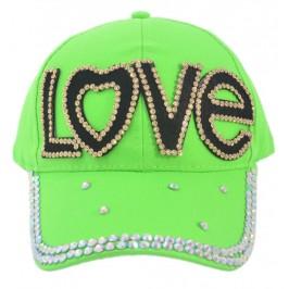 Едноцветна спортна шапка с козирка, декорирана с надпис LOVE и камъни