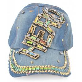 Спортна лятна шапка от дънков плат с козирка, декорирана с надпис HERO и бели и цветни камъни
