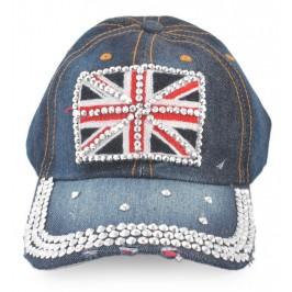 Спортна лятна шапка с козирка, декорирана с флага на Великобритания и цветни камъни