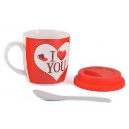 Красива керамична чаша с капаче и лъжичка