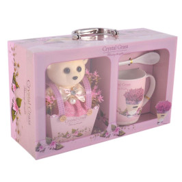Подаръчен комплект - сладко мече и керамична чаша с лъжичка и чинийка