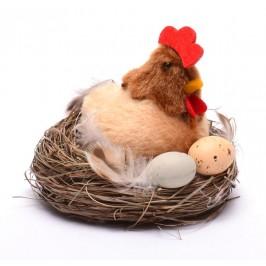 Декоративна фигурка - кокошка в гнездо с две яйца