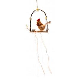 Красива декоративна фигурка - пиле с яйце на люлка, декорирана с панделка