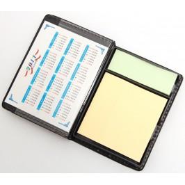 Органайзер за бюро - календар за 2011 година и цветни бележки в кожена поставка