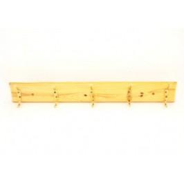 Закачалка за дрехи с метални куки на дървена стойка