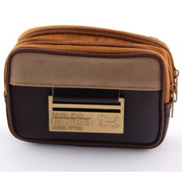 Мъжка чанта текстил за колан с джобове с цип