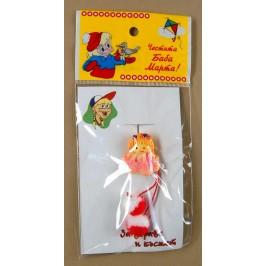 Мартеница пластмасова фигурка момиченце -искряща, с вълнени помпони