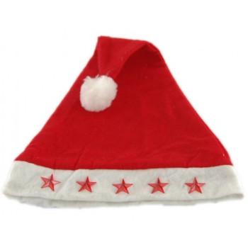 Коледна шапка от полар в бяло и червено с декоративни светещи звезди