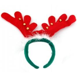 Коледна диадема еленови рога в зелено и червено, декорирана с пух и звънчета