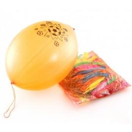 Различни цветове балони с картинка и ластик за закачане - 50 броя