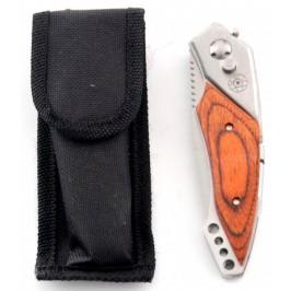 Сгъваем джобен нож с автоматично отваряне, дървена дръжка,калъф и фенер