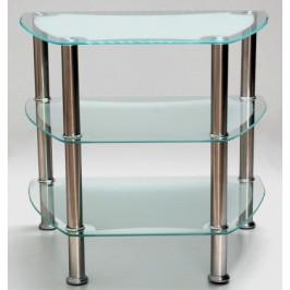 Стилна интериорна маса с три плота - матирано стъкло и носеща метална конструкция