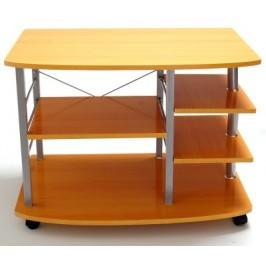 Подвижна интериорна маса с пет раздвижени дървени плота и носеща метална конструкция