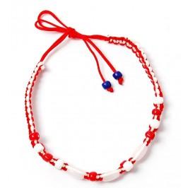 Мартеница плетена гривна с орнаменти в бяло и червено