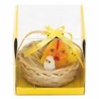 Декоративни фигурки Великденски пиленца в кошничка с панделка