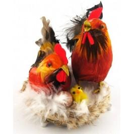 Декоративни фигурки в музикална кошничка - петле и кокошка с яйце и малко пиленце