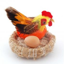 Декоративна фигурка - кокошка в гнездо с едно яйце