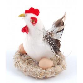 Декоративна фигурка в кошничка - кокошка и две яйца