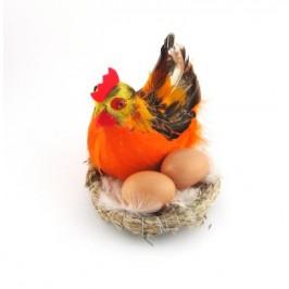 Декоративна фигурка в музикална кошничка - кокошка и две яйца