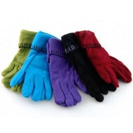 Меки дамски ръкавици от полар с декоративен шев на китката