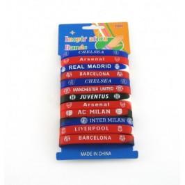 Гумена гривна с имена на футболни отбори