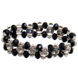 Красива гривна от декоративни стъклени камъни и бели камъчета на ластична основа - черна
