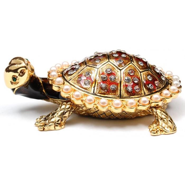 Метална декоративна кутийка за бижута - красива костенурка