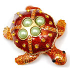 Декоративна метална кутийка за бижута - красива костенурка