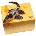 Декоративна метална кутийка за бижута - крокодил