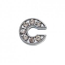 Метален аксесоар за гривна с формата на буквата С, инкрустиран с малки, бели камъчета