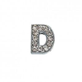 Метален аксесоар за гривна с формата на буквата D, инкрустиран с малки, бели камъчета