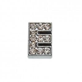 Метален аксесоар за гривна с формата на буквата Е, инкрустиран с малки, бели камъчета