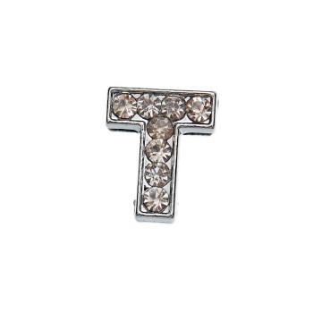 Метален аксесоар за гривна с формата на буквата Т, инкрустиран с малки, бели камъчета