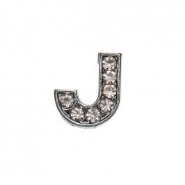 Метален аксесоар за гривна с формата на буквата J, инкрустиран с малки, бели камъчета