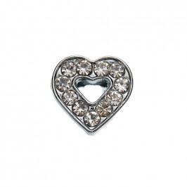 Метален аксесоар за гривна с формата на сърце, инкрустиран с малки, бели камъчета
