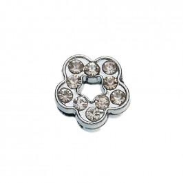 Метален аксесоар за гривна с формата на цвете, инкрустиран с малки, бели камъчета