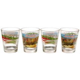 Комплект четири броя сувенирни стъклени чаши с декорация - Амфитеатъра в Пловдив
