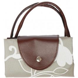 Чанта от текстил с кожени дръжки и закопчалка