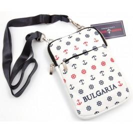 Чанта текстил за рамо, с регулируема презрамка, джобове и цип