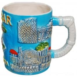 Сувенирна чаша от порцелан с релефни забележителности от Несебър