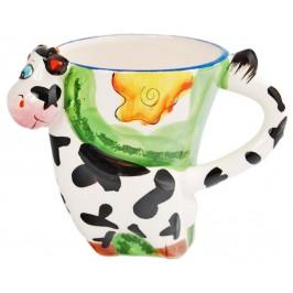 Сувенирна порцеланова чаша във формата на животно с нестандартна дръжка и цветен принт